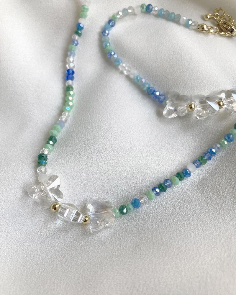 Kitten Butterfly Beads Bracelet Necklace Set - bracelet only 手鐲