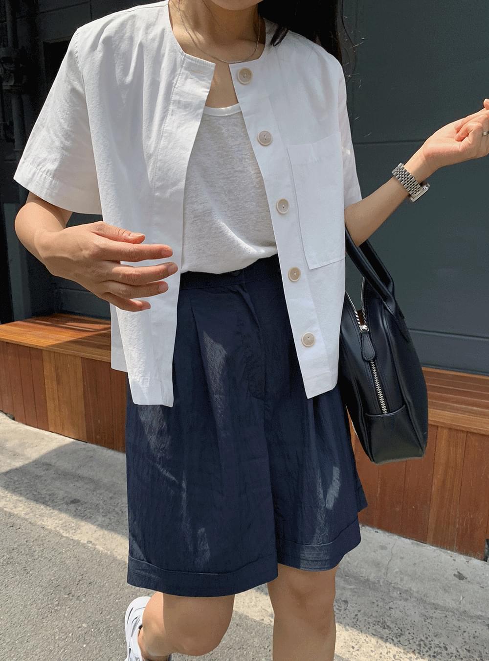 MMMM# Exclusive Order/Same Day Shipping No-collar Hidden Short Sleeve Shirt Jacket