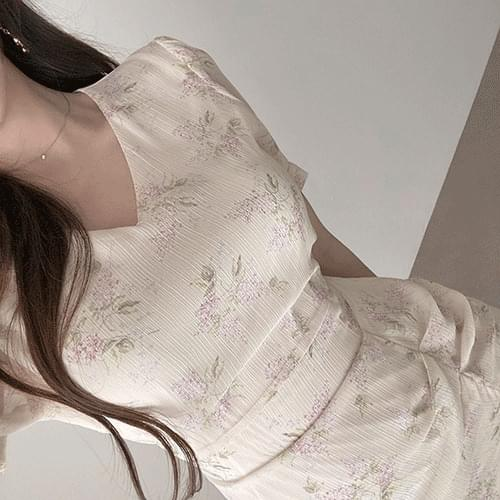 Gorgeous Creamy Goddess Side Shirring Flower Chiffon Dress