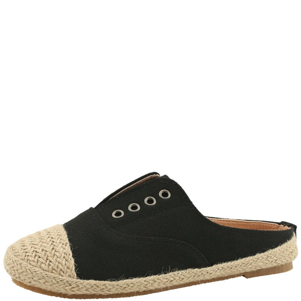 Espadue Linen Sneakers Mule Blowers Black