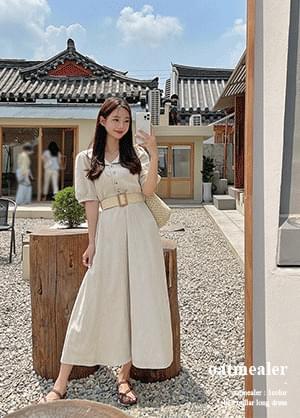 Oatmeal Stripe Linen Puff Belt Long Dress