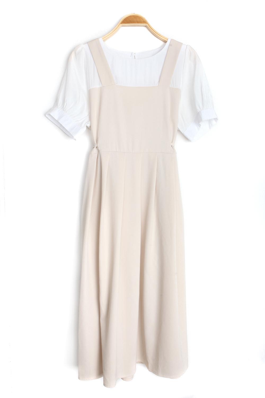 sand pleated Dress