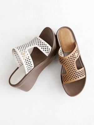 Eclair leather wedge mules slippers 7 cm