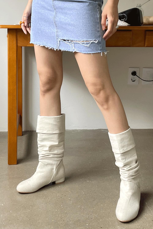 Linen middle Boots