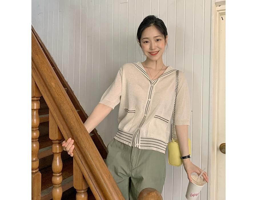 Sailor collar pocket short sleeve cardigan