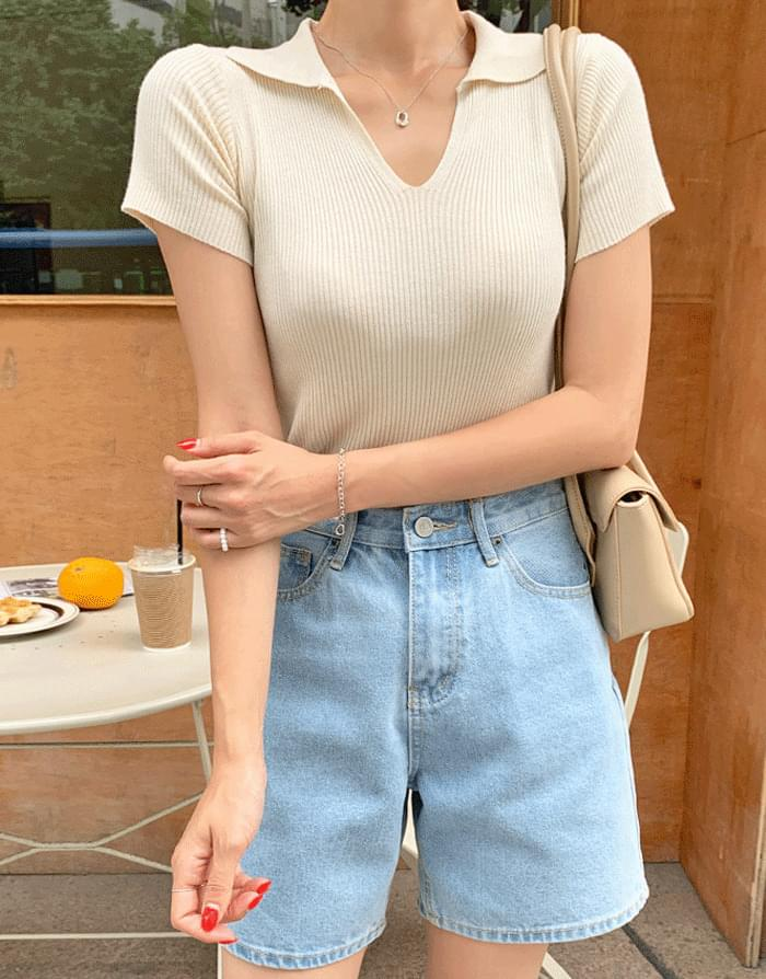 Simply Open Collar Ribbed Short Sleeve Knitwear