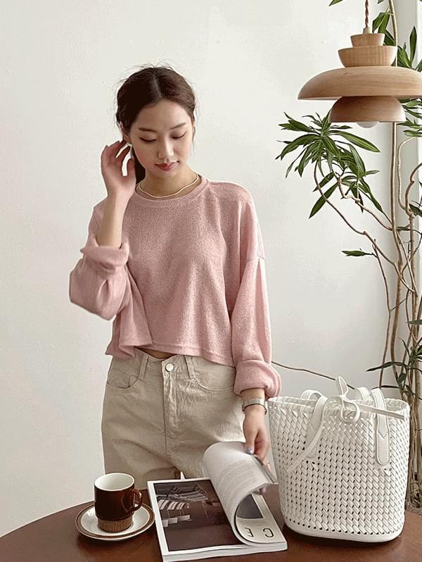 Fateful Semi-Wide Pants + Round Crop Long Sleeve Knitwear
