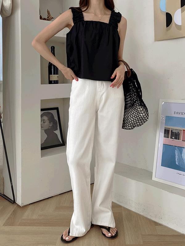 Good Job Cut Cotton Semi-Wide Pants + First Date Shoulder Banding Shirring Sleeveless