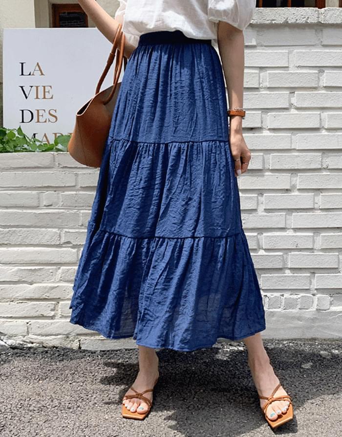 objet kang kang banding long skirt