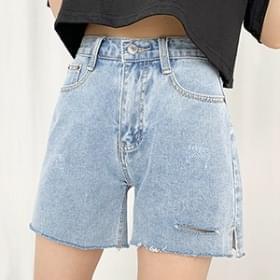Side Split Damage Denim Short Pants