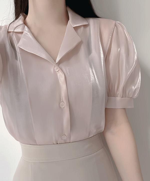 Satin puff collar blouse 2color