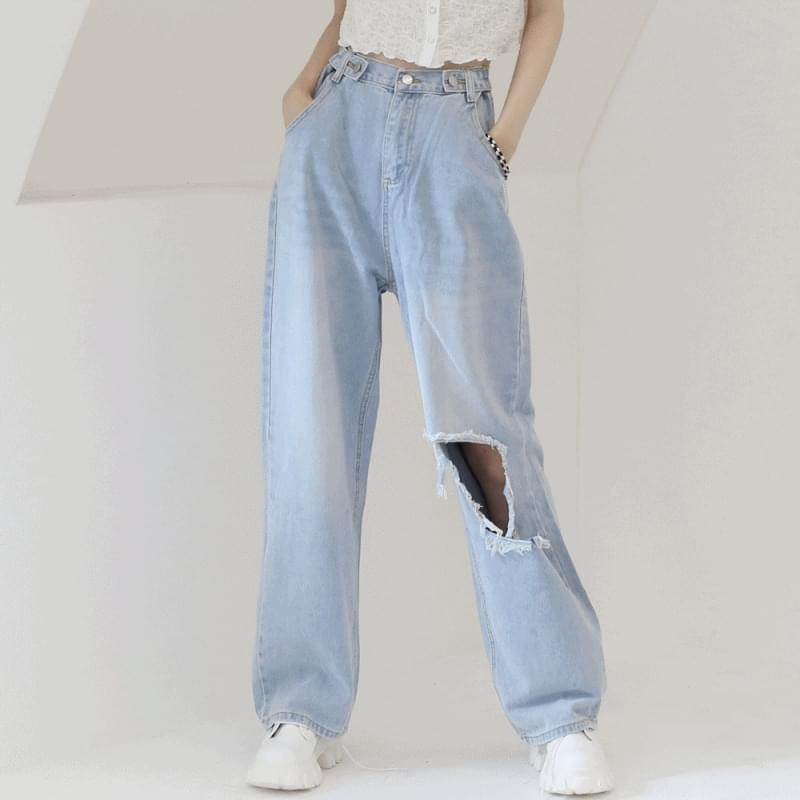 Neta Damage Denim Wide Pants