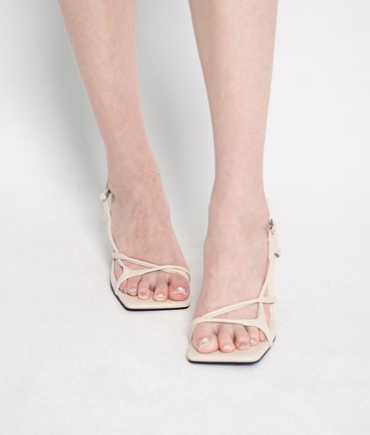 Asymmetrical Strap Heeled Sandals