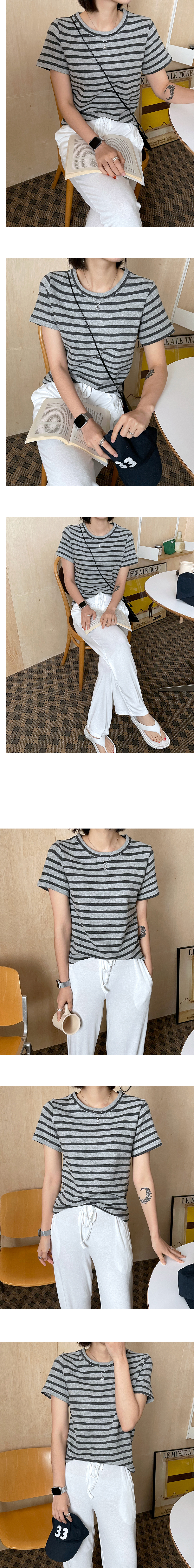 Cozy Striped cropped short sleeve tee