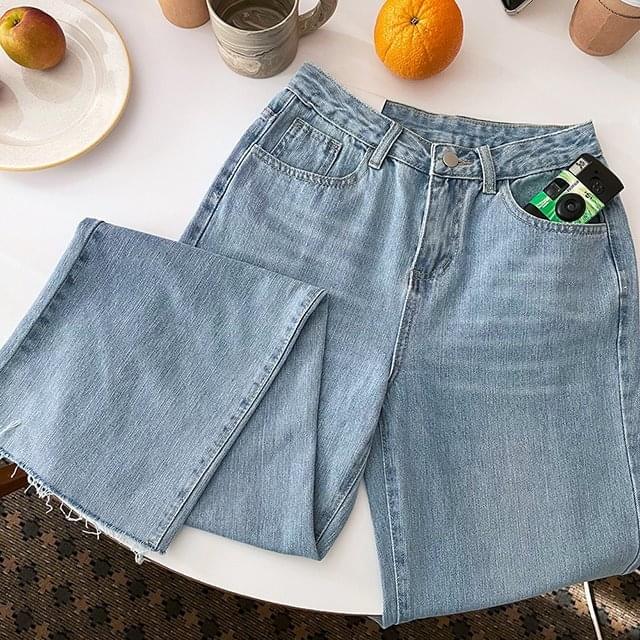 thin denim cut wide pants