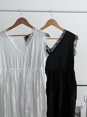 Viewer lace pleated long Dress