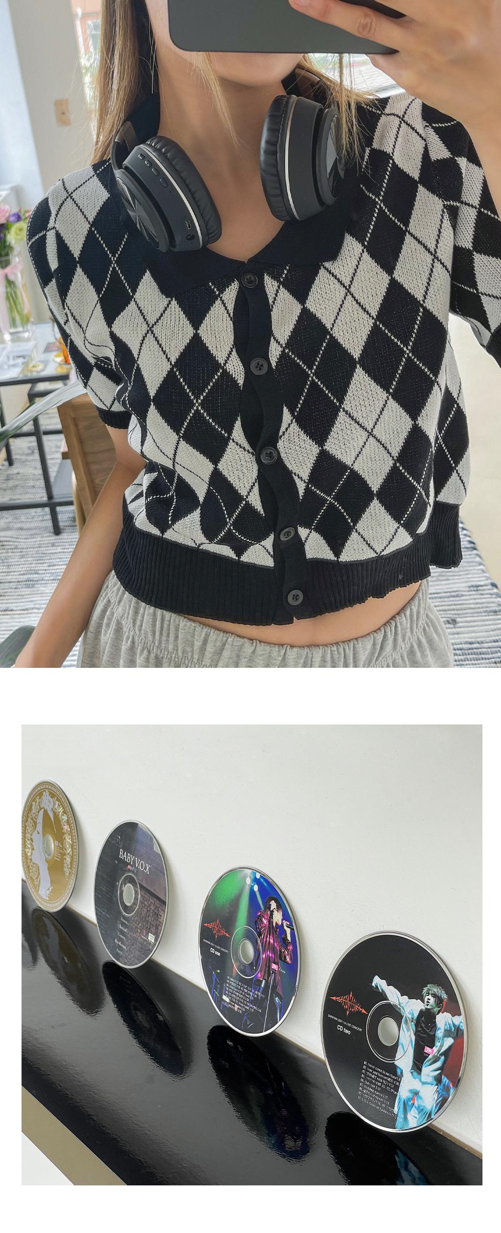 Labard Argyle cropped short-sleeved cardigan