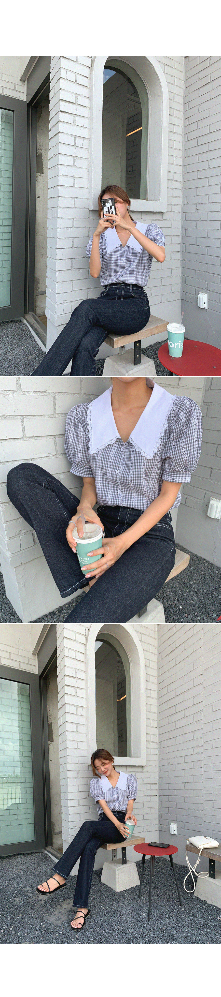 The reason I'm attracted to you is collar lace blouse