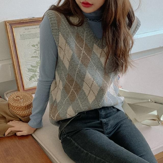 Hey Argyle Wool Knit Vest