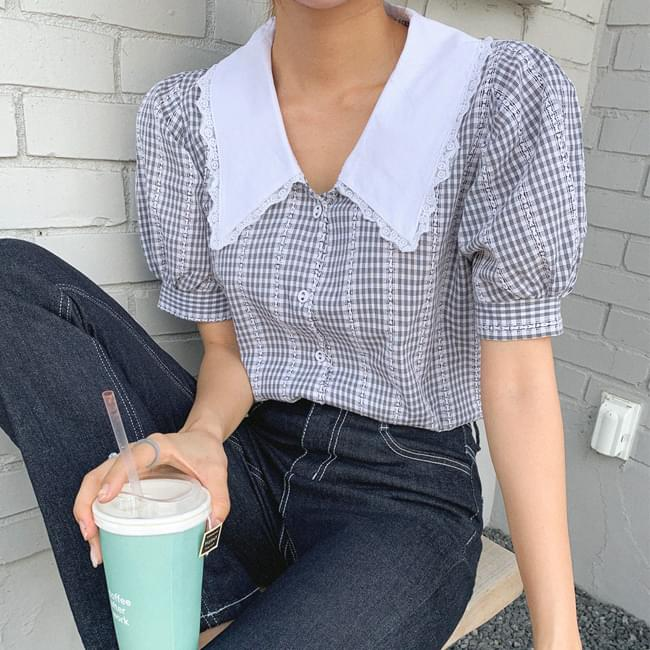The reason I'm attracted to you is collar lace blouse 襯衫