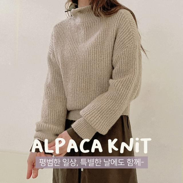 Ribbed High Neck Alpaca Knitwear