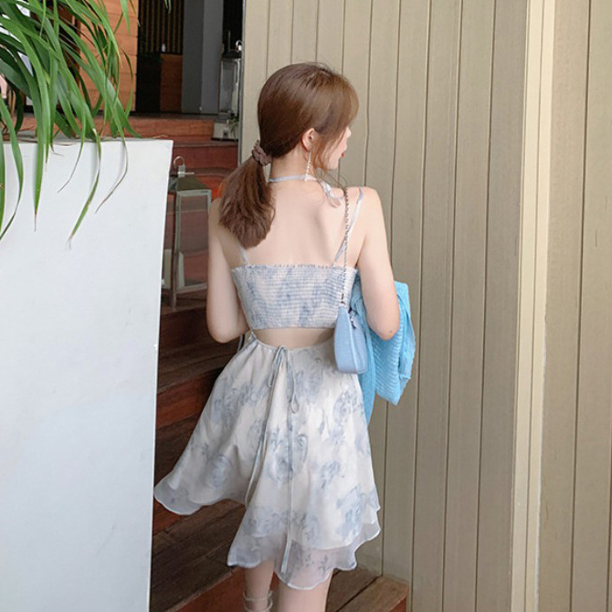French Flower Back Split Chiffon Strap Dress