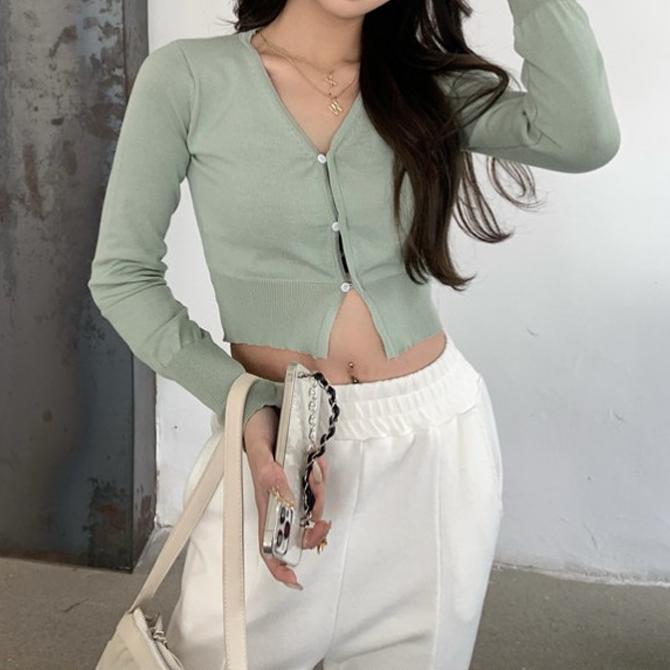 Daily Slim Button Crop Knitwear Cardigan