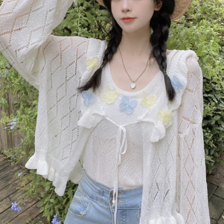 Popular Item Pastel Butterfly Cardigan Set