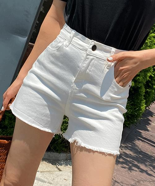Frayed Hem Spandex Good Cotton Short Pants