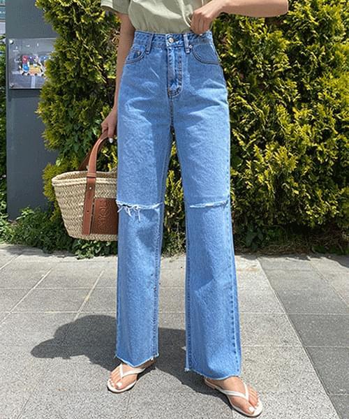 Knee hem straight wide jeans