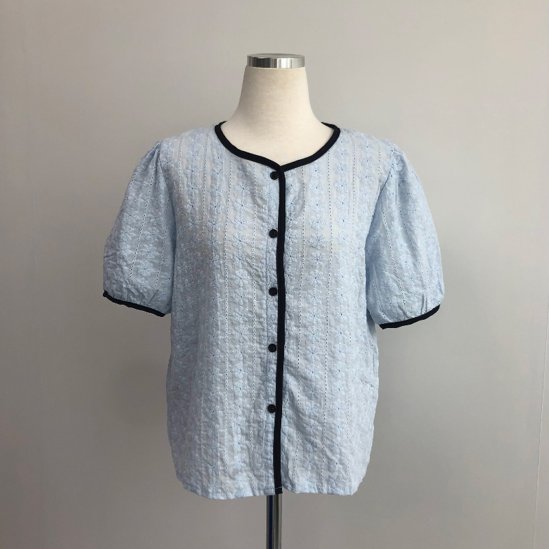 bl4908 Clean Line Point Punching Short Sleeve Blouse