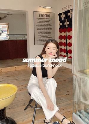 Slow Turning Summer Round Neck Sleeveless Ribbed Basic