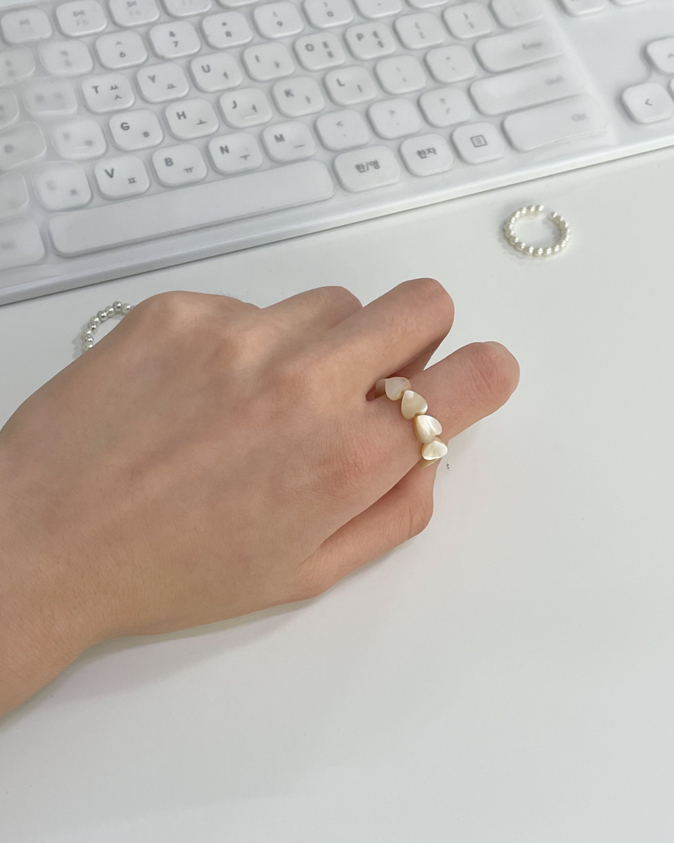 love mother-of-pearl layered ring