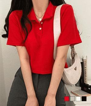 Loco cropped collar short sleeve T-shirt