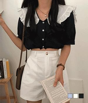 Cloud big collar shirring cropped blouse