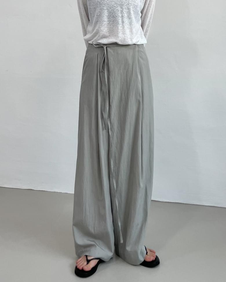 Unbalance Wrap Long Wide Pants