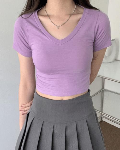 Cotton Candy V-Neck Crop Short Sleeve T-shirt