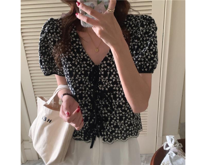 bl5338 motion V-Neck ribbon blouse