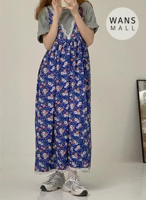 op4145 Doui Blue Flower Sleeveless Dress