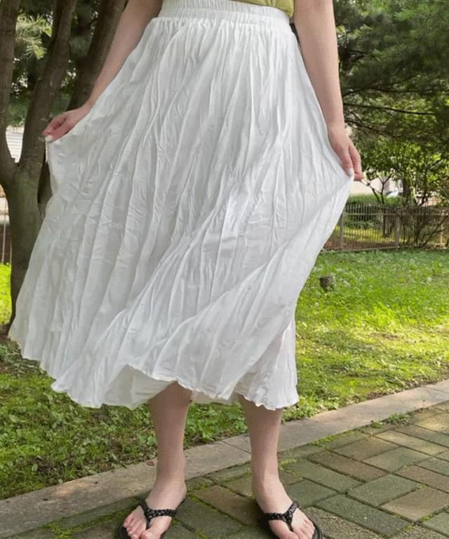 Big Size 26-44 Inch Rose Pleated Banding Long Skirt