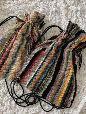 Color Pattern String Knitwear Bag
