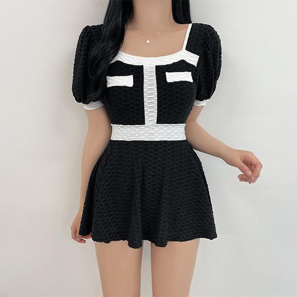 Sienna, Color Matching Monokini Dress Swimsuit