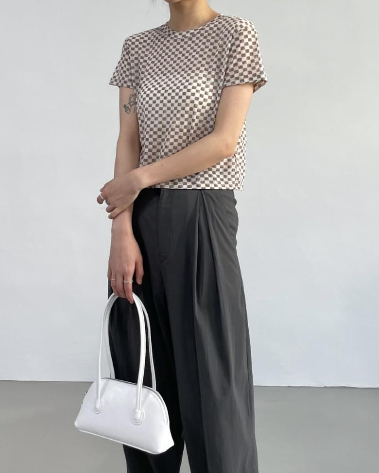 checkered see-through cropped T-shirt