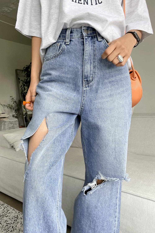 Knee cut point denim Pants