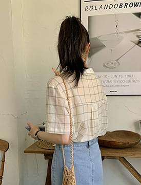 grid check short sleeve blouse