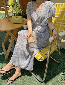Pansy Button Belt Long Dress