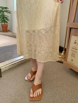 Punching Crochet Knitwear Long Dress