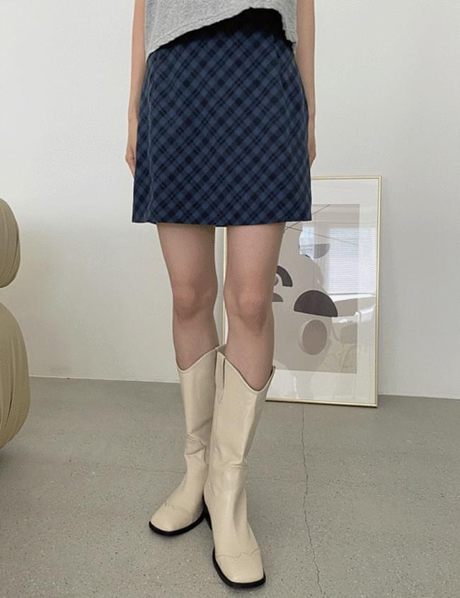 marron check skirt