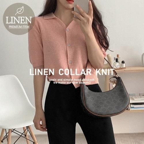 linen collar short sleeve cardigan