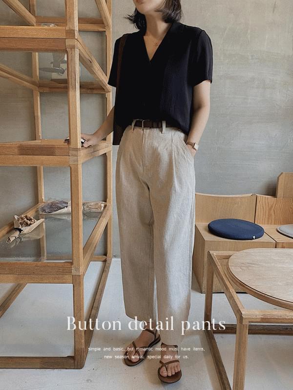 Butting Pintuck Linen Pants